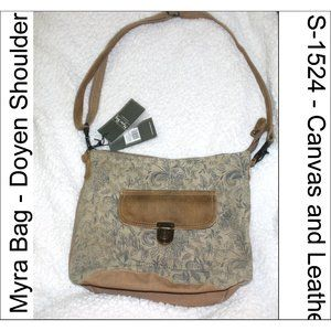 NWT Myra Bag Doyen Shoulder S-1524 Canvas Leather